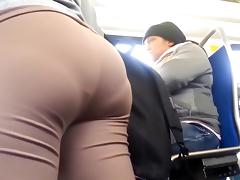 Large Wazoo in Brown Leggings showing unfathomable panty line tube porn video