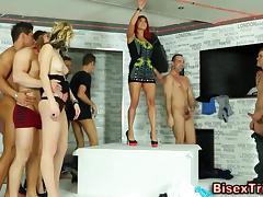 Sluts pussy eaten in orgy tube porn video