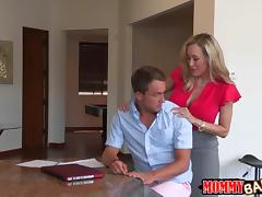 Taylor Whyte and Brandi Love threesome on massage table tube porn video