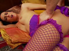 Captivating brunette in fishnet stockings giving massive python stunning blowjob tube porn video