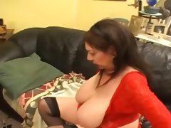 Ugly fat old hag and younger redhead chick tube porn video