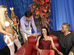 Group sex action featuring babes in stockings and bra being shoved hardcore tube porn video