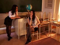 Two slutty Japanese teachers fuck a co-worker at their work place tube porn video