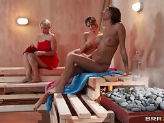 Hot sauna pussy licking and fingering with three naughty hot ass lesbians tube porn video
