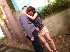 Delightful Asian babe gets a creampie facial after giving a wild tit job outdoors tube porn video
