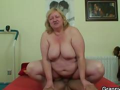 Huge titted granny and boy tube porn video