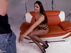 Curvaceous Latina pornstar with small tits delivers a blowjob then gets slammed hardcore tube porn video