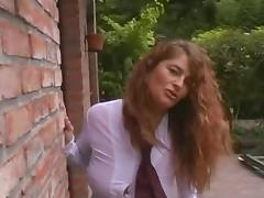 Sexy and busty curly MILF outdoor with 3 guys tube porn video