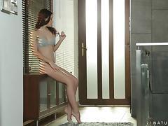 Minnie Manga in pussy fingering and nasty tit slamming in hot masturbation tube porn video