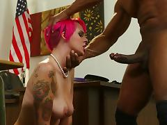 Charming redhead with big tits rides a big black cock after getting her face fucked tube porn video
