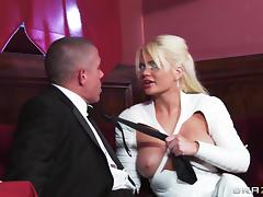Sexy knee high white latex boots on fucked bimbo Alexis Ford tube porn video