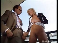 Redhead on a boat strips to her stockings for deep anal sex tube porn video