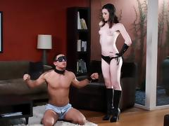 Beautiful Stoya blindfolds a guy, gives him head and fucks him tube porn video