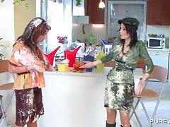 WAM nasty lesbos fighting with messy cream tube porn video