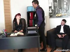 Mature office bitch enjoys two cocks tube porn video