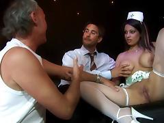 Blonde nurse in fishnets gets her shaved pussy hammered tube porn video