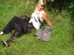Young Chubby Amateur With Sexy Hangers Fucking Outdoors tube porn video