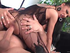 Brunette cutie Mela wearing bodystocking enjoys riding a cock tube porn video