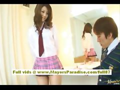 Risa Tsukino Asian doll in waitress uniform enjoys sucking huge cock tube porn video