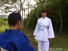 He gives her martial arts lesson then fucks her hairy pussy tube porn video