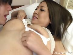 Buxom Japanese girl in pretty white panties wants to fuck tube porn video