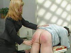 Blonde fetish femdom spanking the employee tube porn video