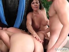 Teen stud doing one cougar cunt after another tube porn video