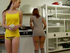 Tattooed lesbians enjoy a face sitting on a kitchen floor tube porn video