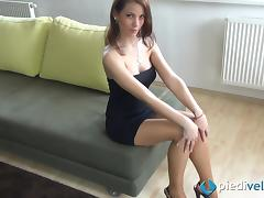 Seductive Italian brunette is mesmerizing with her feet tube porn video