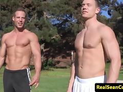 Assfucking muscle jocks flexing before fucking tube porn video