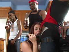 Kinky cougar with a hot ass enjoying an interracial gangbang tube porn video