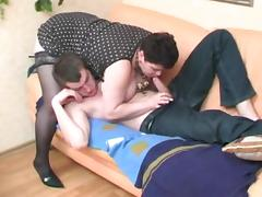 A Brunette Shorthair-BBW-Milf fucked by young Guy tube porn video