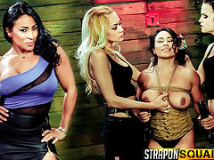 Hot Muscle MILF Becca Diamond's 1st Lesbian Domination with Brooklyn Daniels & Mila Blaze tube porn video