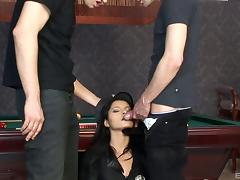 Cutie in a police uniform enjoys a double penetration tube porn video