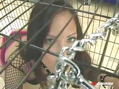 Releasing his brunette slave from his cage to destroy her cunt tube porn video