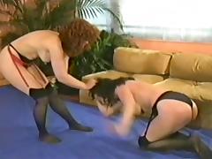 Retro milfs Catfight tube porn video