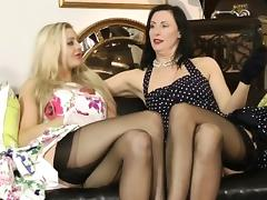 British stockings milf plays with busty pal tube porn video