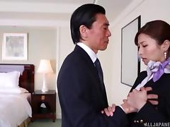 Hot Japanese stewardess gets fucked by a hung older dude tube porn video