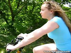 Nice ass cowgirl takes a ride on a bike before showing off her nice ass  outdoors tube porn video