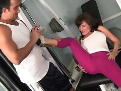 Kinky thong-clad cougar with long dark hair licking a stranger's asshole tube porn video