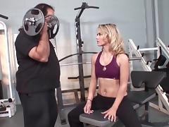 Chubby Ron Jeremy fucks hot and fit blonde Sophia Lynn tube porn video