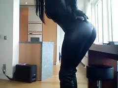 Smoking brunette - catsuit tube porn video