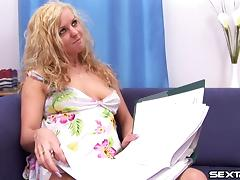 Wavy haired blonde moans a s her tight coochie welcomes a big cock hardcore tube porn video