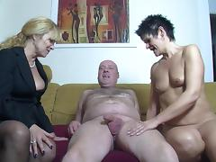 Inviting the short haired neighbor slut for a threesome tube porn video