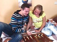 Playing backgammon leads to a slut being fucked in the asshole tube porn video