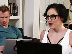Chubby nerd chick with sexy tattoos does DP porn tube porn video