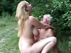 Natural huge titted slut fucks grandpa in the woods tube porn video