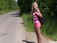 Teen blonde hitchhiker takes a break and fingers her pussy tube porn video