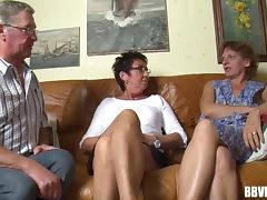 Grandpa and two grannies go crazy in a really old threesome tube porn video