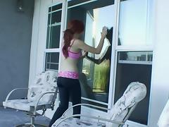 Sexy freckled redhead lesbian licks a yoga girl's sweet cunt tube porn video